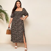 Plus Puff Sleeve Shirred Split Thigh Floral Dress
