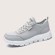 Men Lace Up Front Breathable Sneakers