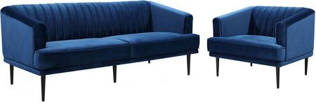 Rory Collection 689NAVYSC 2-Piece Living Room Set with Sofa and Chair in