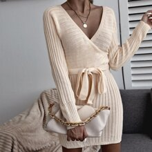 Solid Surplice Front Belted Sweater Dress