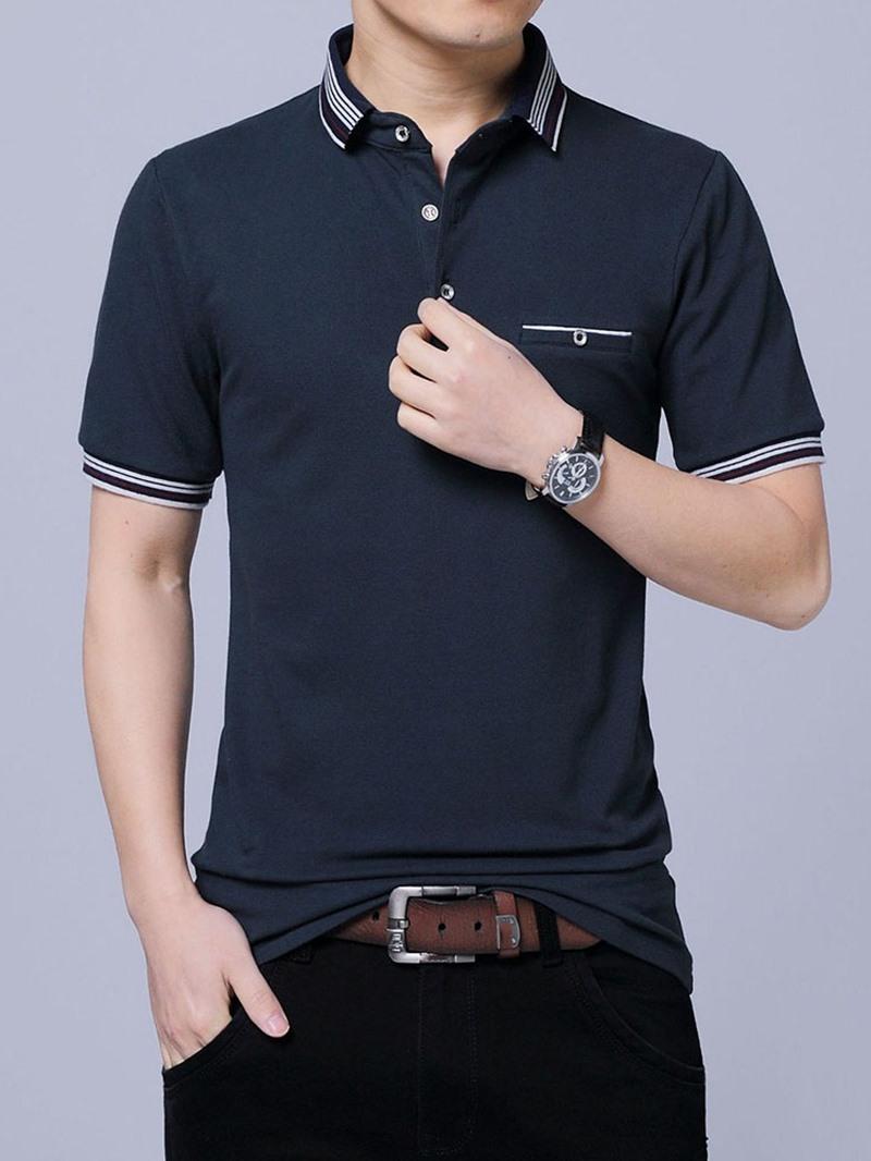 Ericdress Stripe Casual Polo Neck Polo Men's Shirt
