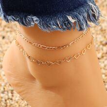 2pcs Heart Design Anklet