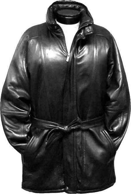 3/4Length Coat with Belt Black Leather coat /Raincoat / Duster
