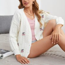 Cherry Appliques Cable Knit Cardigan