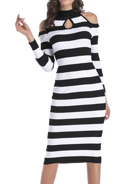 Milanoo Knitted Dress Hunter Green Stripes Jewel Neck Long Sleeves Acrylic Casual Bodycon Dress