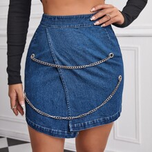 Wrap Denim Skirt With Chain