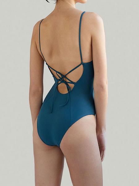 Milanoo Trajes de baño de una pieza Royal Blue Straps Neck Backless Summer Sexy Swimwear