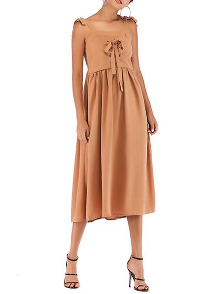 Milanoo Vestido de verano Blush Pink Straps Vestido de playa de mezcla de algodon anudado con cuello