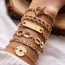 6pcs Geometric Decor Chain Bracelet