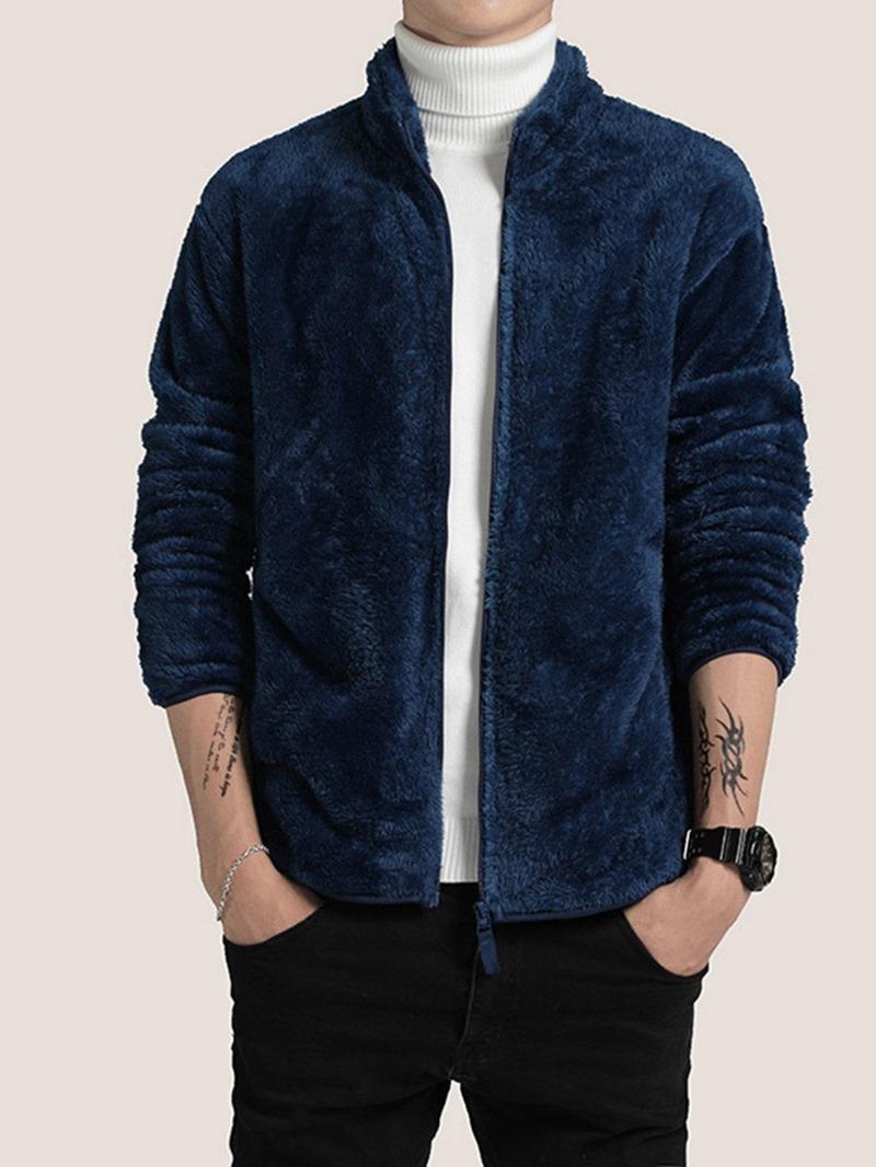 Ericdress Plain Stand Collar Zipper Loose Jacket