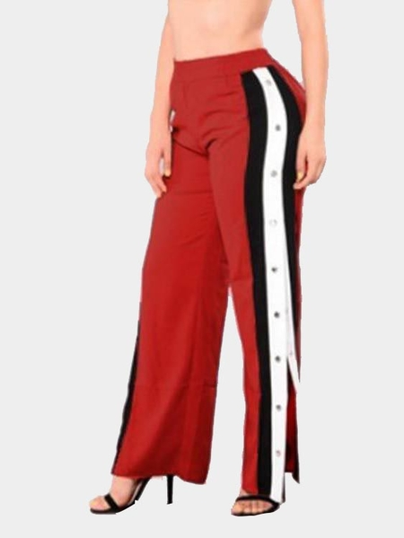 Yoins Active Wide Leg Deep Side Slit Design High Waist Sport Pants in Red