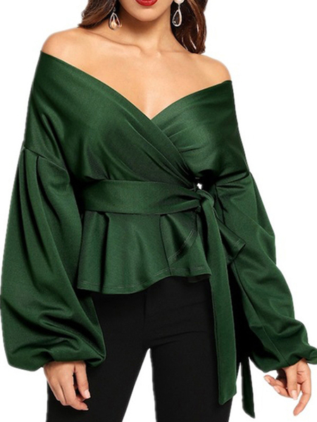 Yoins Off The Shoulder Long Sleeves Tie-up Design Blouse