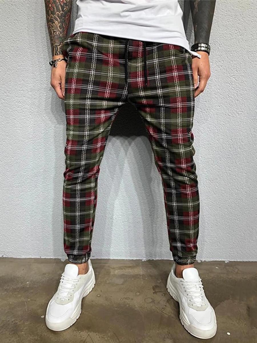 LW Lovely Trendy Grid Print Green Men Pants
