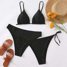 3pack Plus Triangle Tie Side Bikini Swimsuit