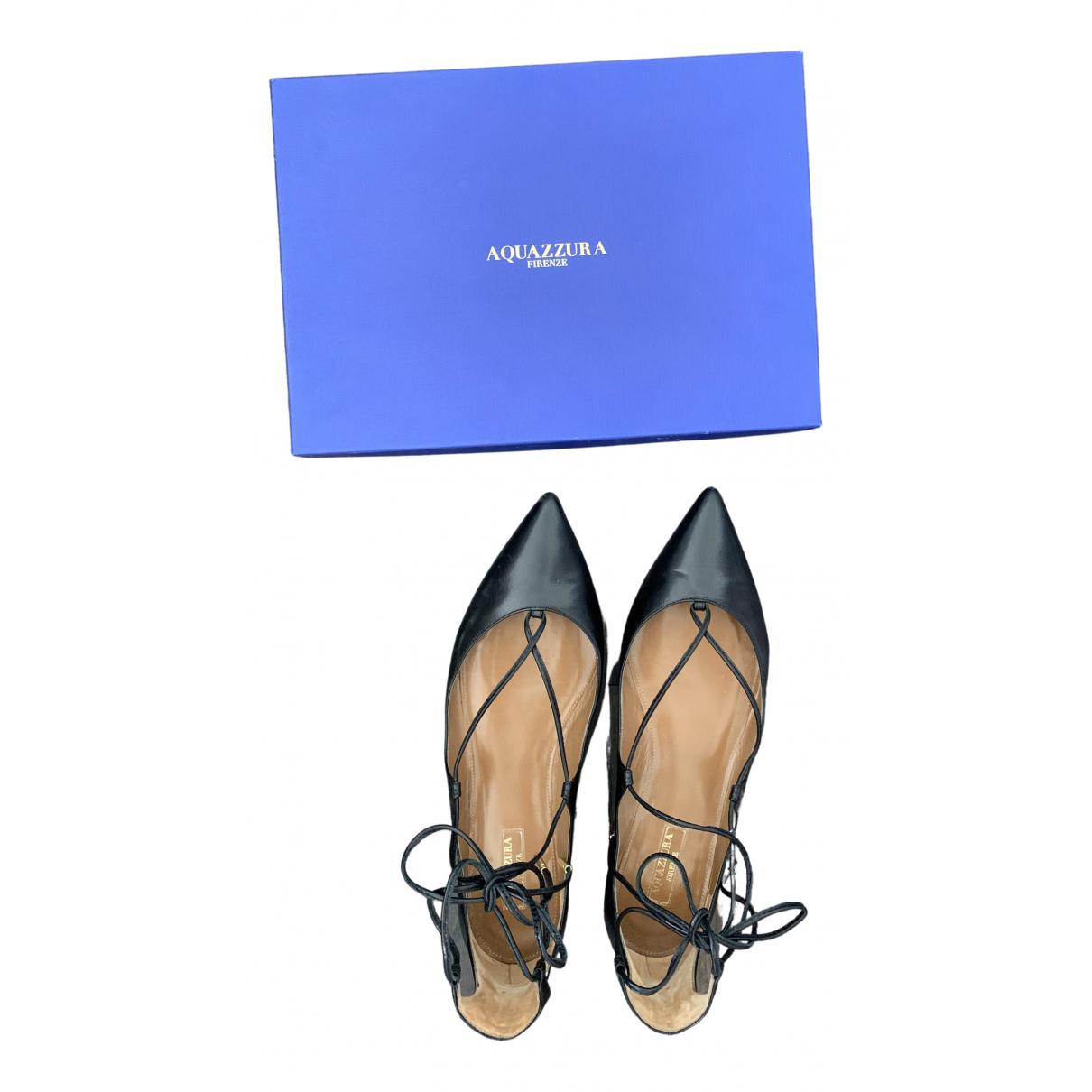 Aquazzura \N Black Leather Flats for Women 39.5 EU