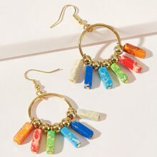 Geo Tassel Ring Drop Earrings