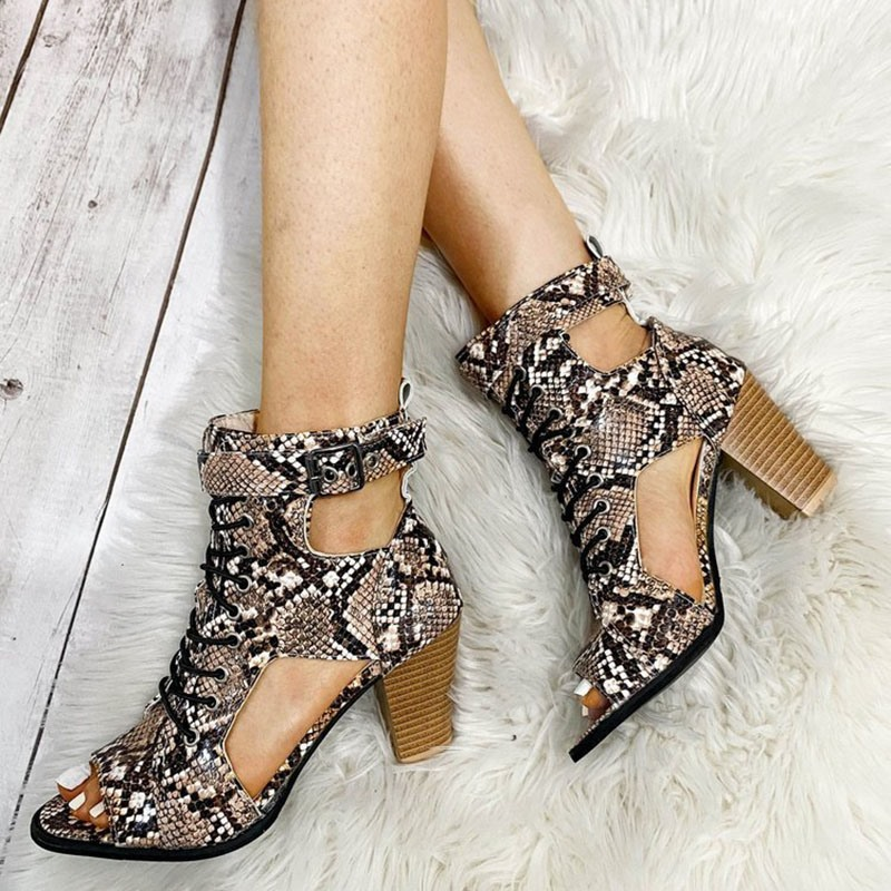 Ericdress Hasp Chunky Heel Open Toe Hollow Boots