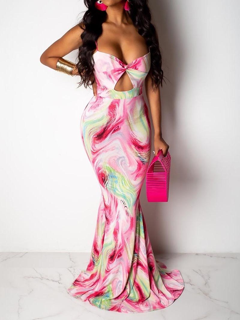 Ericdress Bodycon Floor-Length Print Hollow Sleeveless Dress
