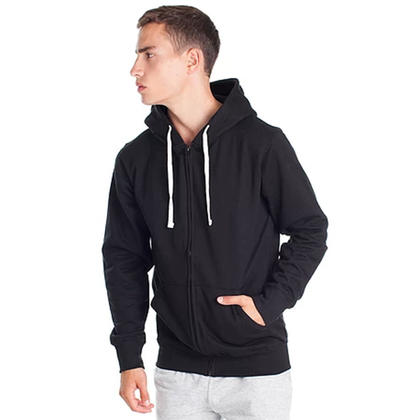 Cotton blend hoodie with Full-length zip and kangaroo pocket Black - LIVINGbasics™ - XXL