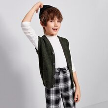 Boys Button Placket Patch Pocket Cardigan