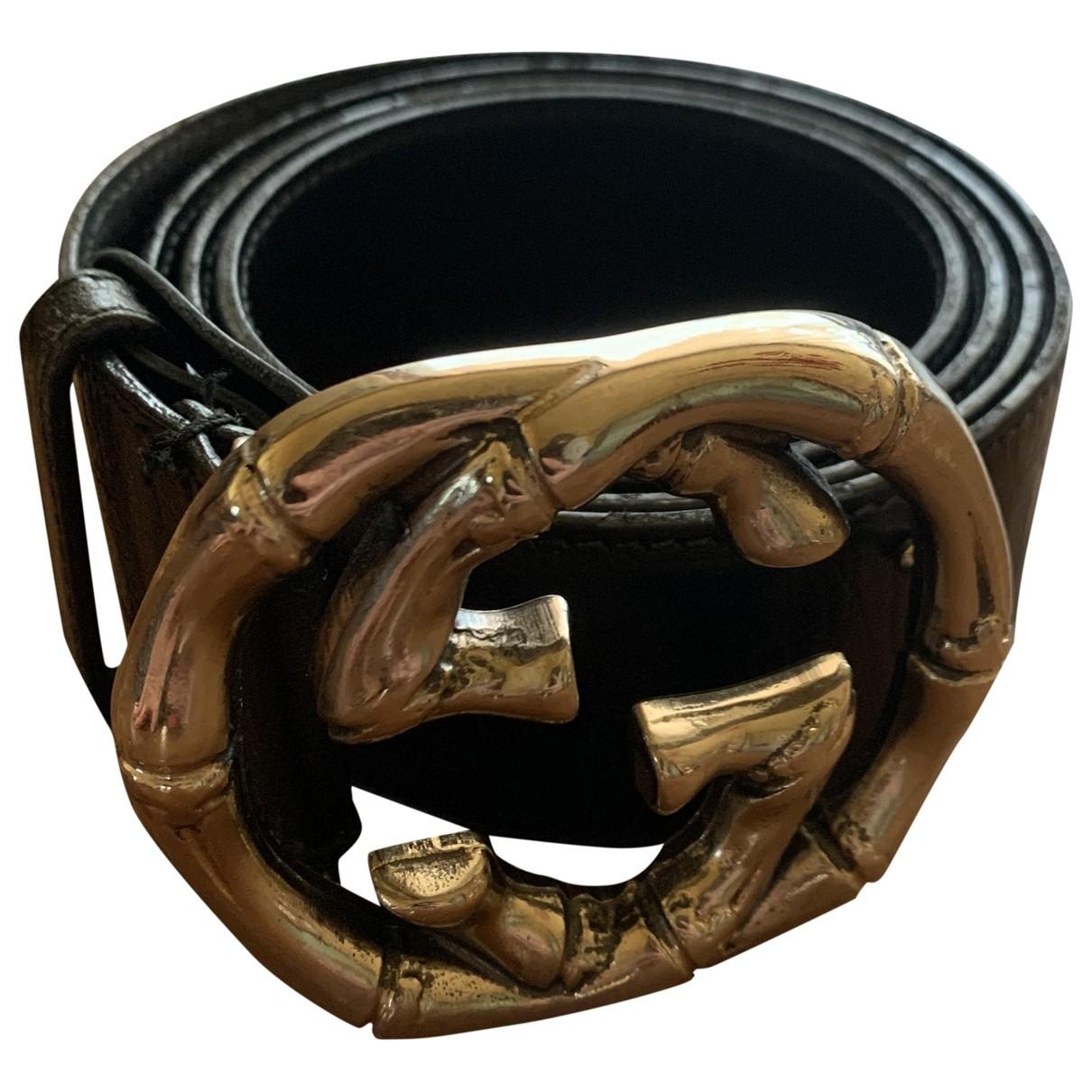 Gucci Interlocking Buckle Black Leather belt for Women L International