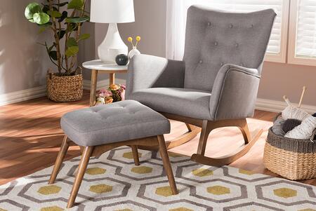 BBT5303-GREY-RC-OTTO-SET Baxton Studio Waldmann Mid-Century Modern Grey Fabric Upholstered Rocking Chair and Ottoman
