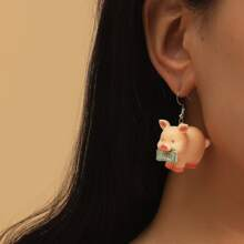 Pig Charm Drop Earrings
