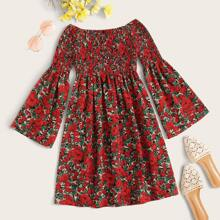 Plus Floral Print Shirred Bodice Bardot Dress