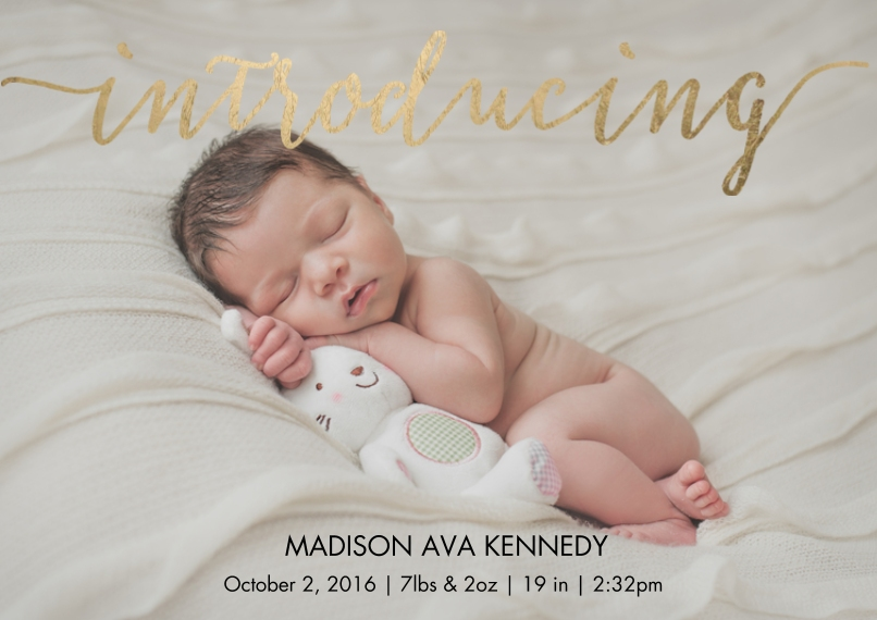 Baby Boy Announcements 5x7 Cards, Premium Cardstock 120lb with Elegant Corners, Card & Stationery -Baby Gold Script