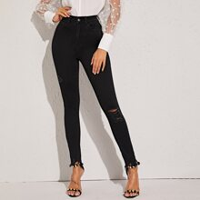 Black Ripped High Waist Jeans Without Belt