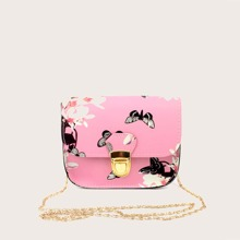 Butterfly & Floral Chain Crossbody Bag