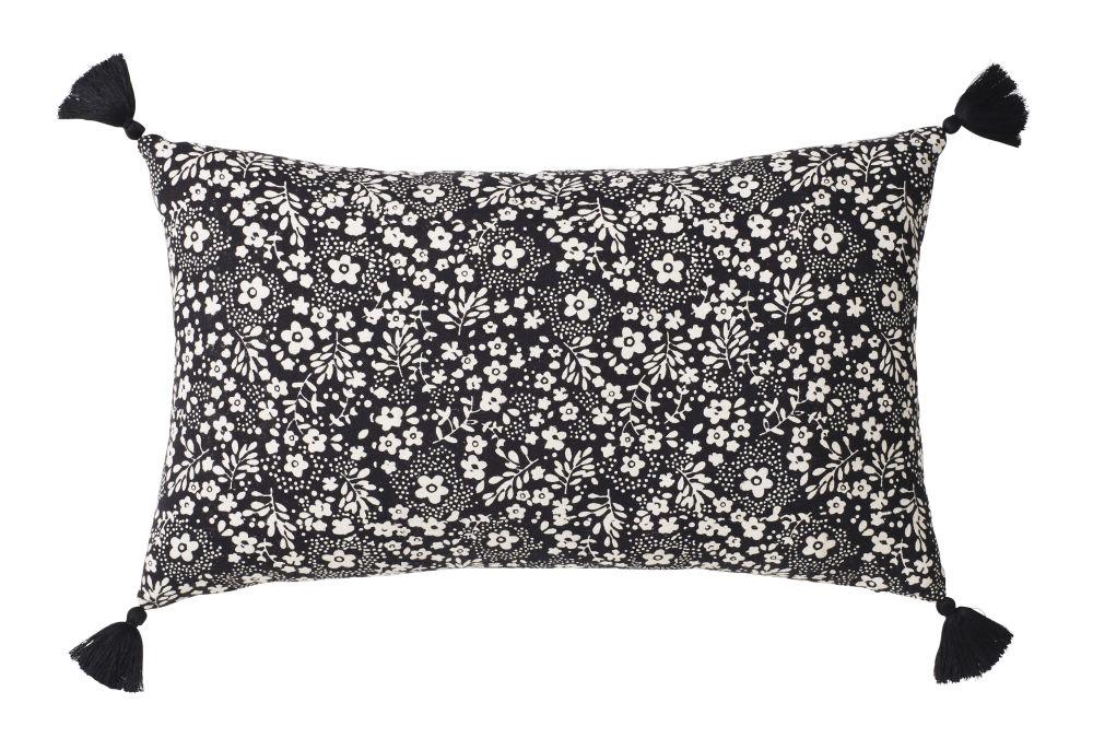 Baumwollkissen, schwarz mit weissem Blumendruck 30x50