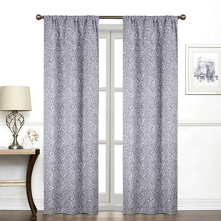 Regal Home York Paisley Light-Filtering Rod-Pocket Single Curtain Panel, One Size , Gray