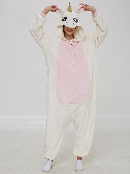 Milanoo Disfraz Halloween Unicornio Kigurumi Pijamas Onesie Furry Tail White Flannel Jumpsuit Kigurumi Costumes Carnaval Halloween