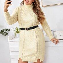 Strick Kleid mit hohem Kragen und Schlitz ohne Guertel