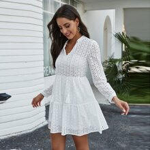 Tie Neck Eyelet Embroidery Smock Dress