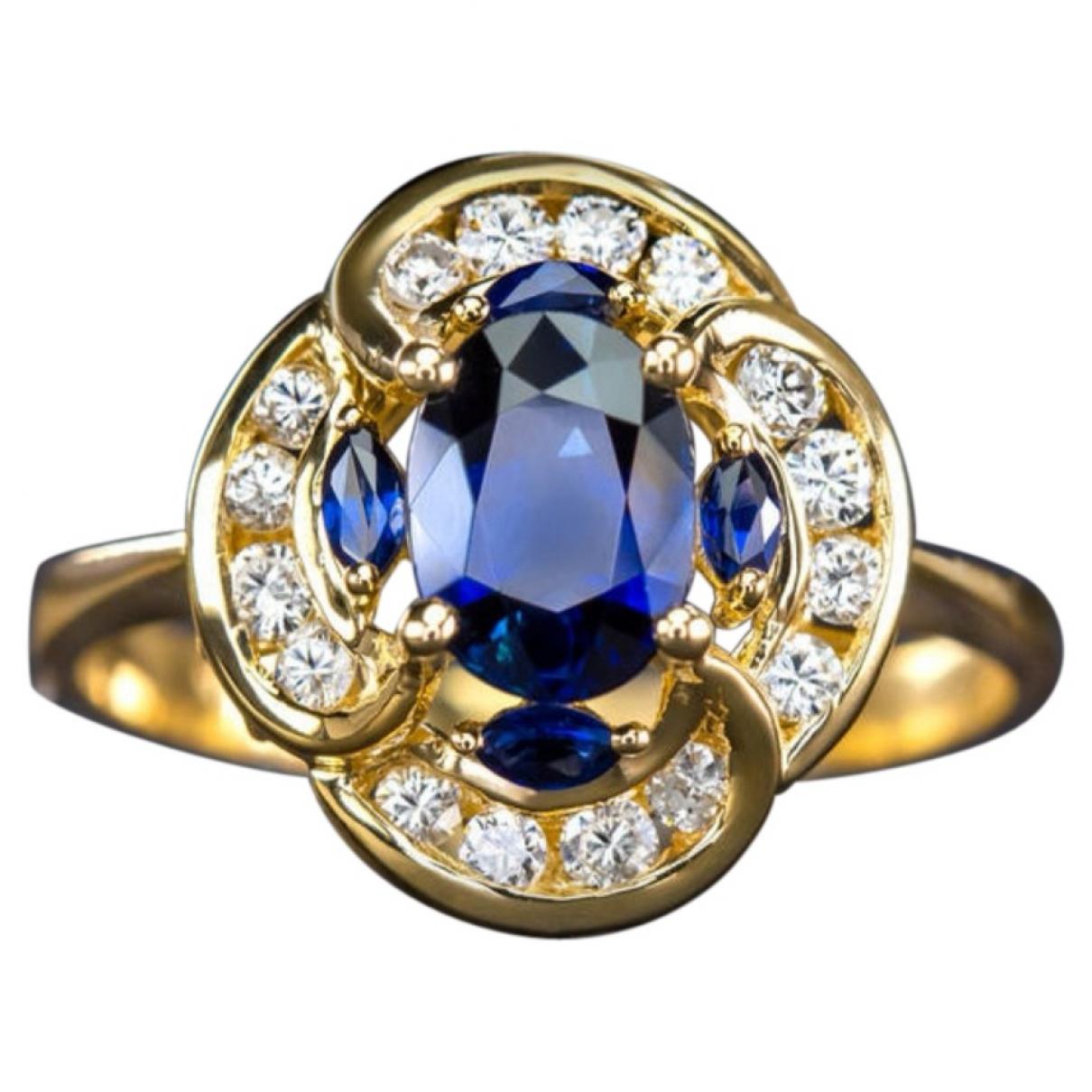 Non Signe / Unsigned Saphir Ring in  Blau Gelbgold