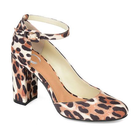 Journee Collection Womens Raveen Buckle Round Toe Block Heel Pumps, 11 Medium, Brown