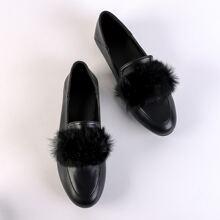 Loafers mit Kunstpelz Dekor