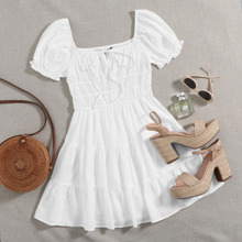 Plus Square Neck Puff Sleeve Ruched Detail Tiered Hem Dress