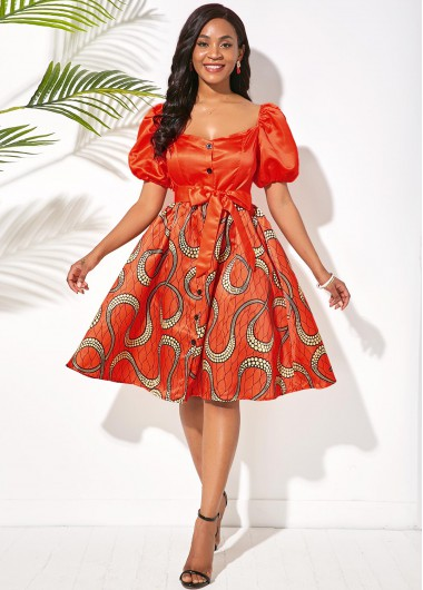 Cocktail Party Dress Puff Sleeve Printed Button Front Belted Dress - XS