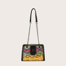 Snakeskin Print Twist Lock Shoulder Bag