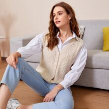 Cable Knit Button Front Cardigan