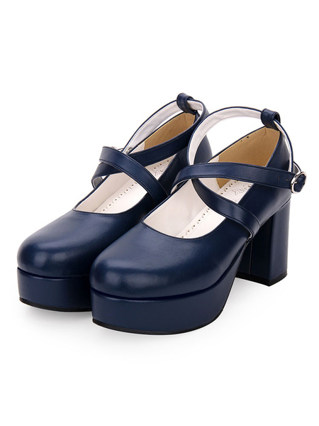 Milanoo Classic Lolita Pumps Strappy Chunky High Heel Lolita Shoes