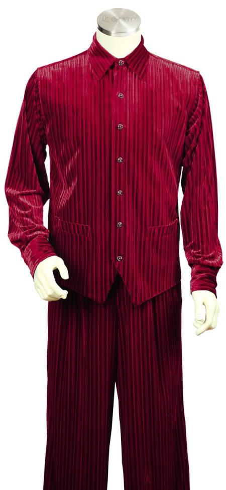 Mens Ribbed Velvet Long Sleeve Dual Pocket Accents Red Zoot Suit