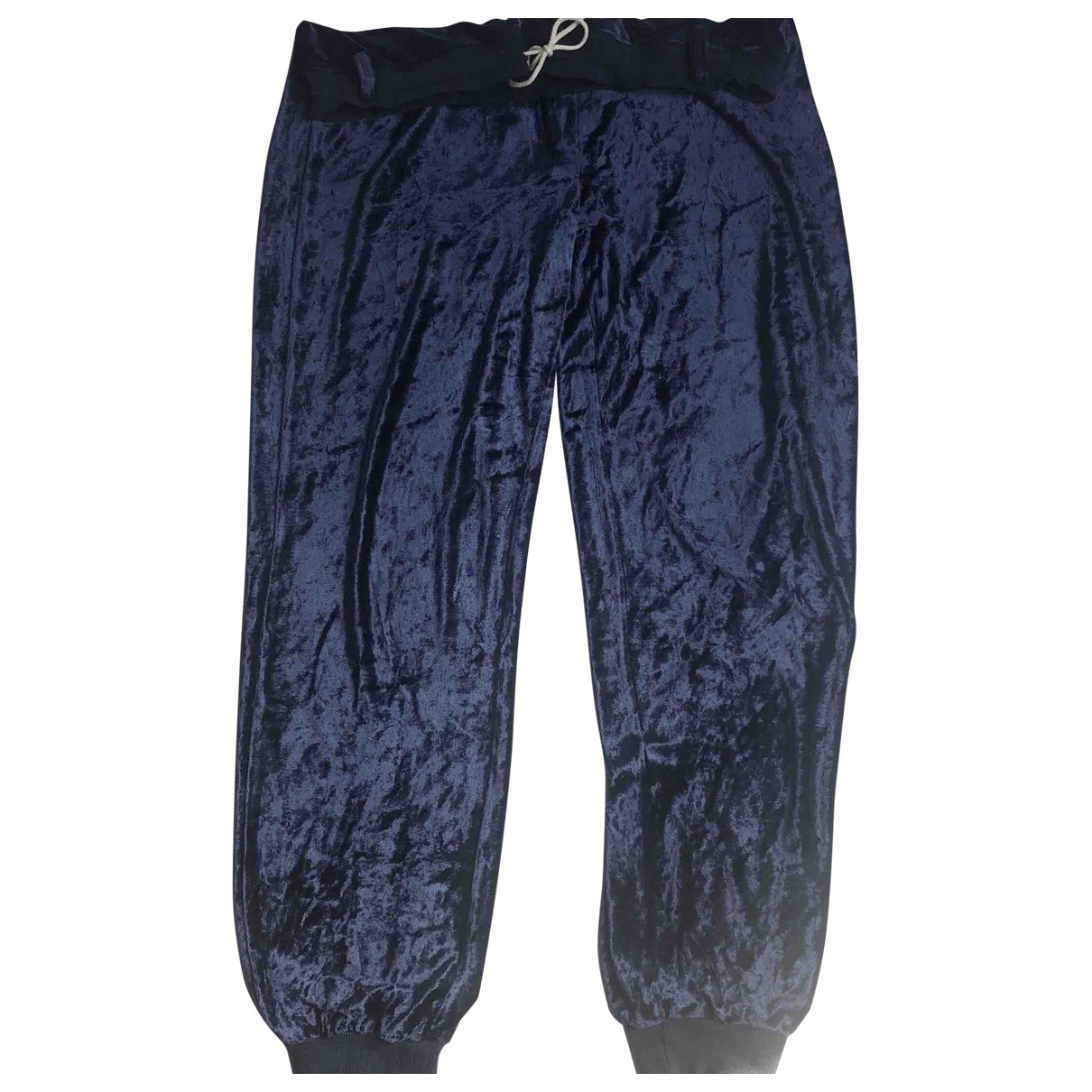 Mm6 \N Blue Velvet Trousers for Women 38 FR