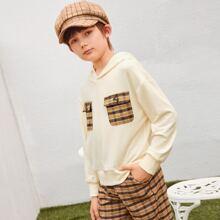 Kapuze mit Karo Muster und Taschen Flicken