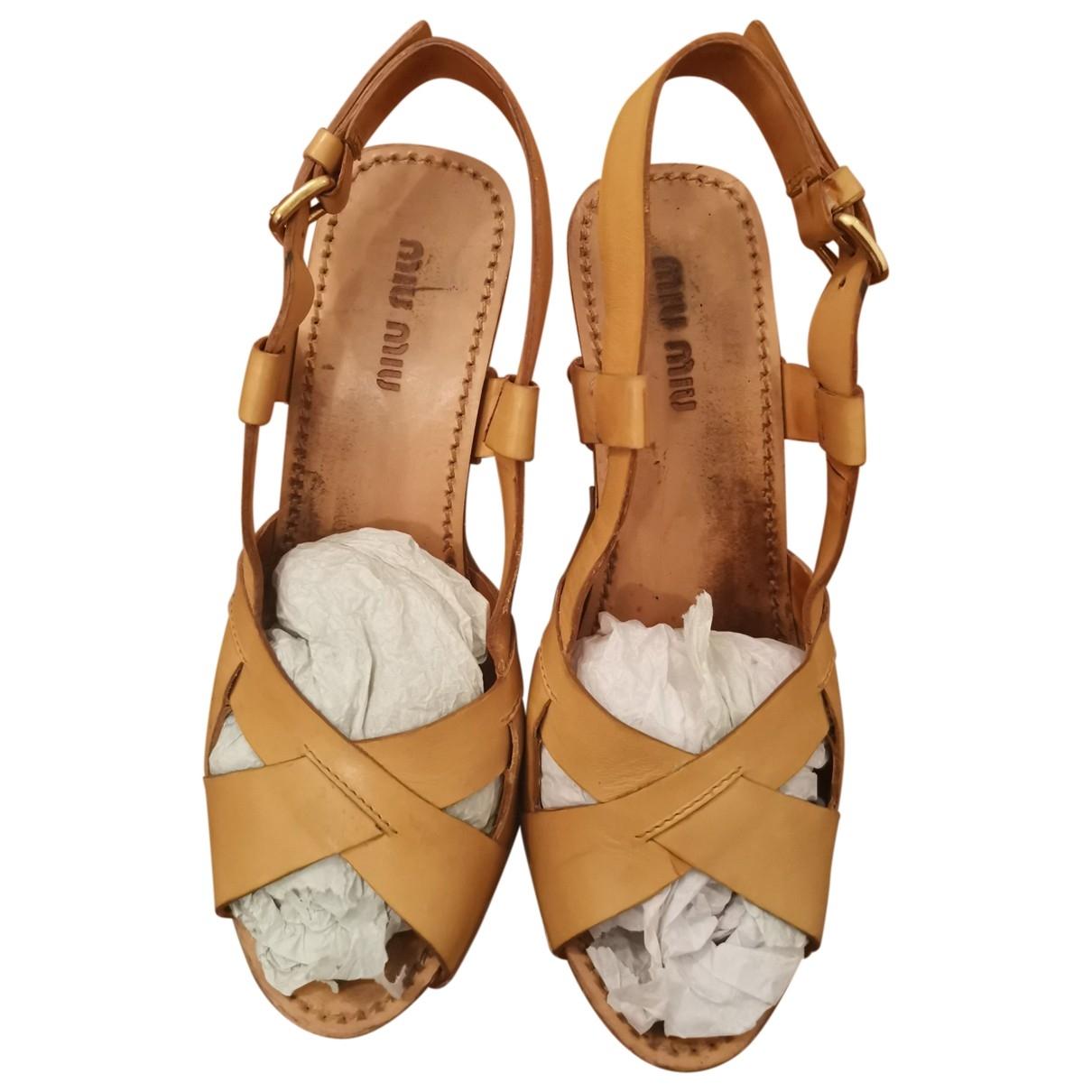 Miu Miu \N Beige Leather Sandals for Women 36.5 EU