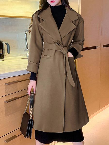 Milanoo Woman\'s Outerwear Black Turndown Collar Long Sleeves Lace Up Drawstring Classic Maxi Coat