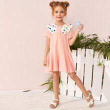 Toddler Girls Peter Pan Collar Ruffle Hem Dress